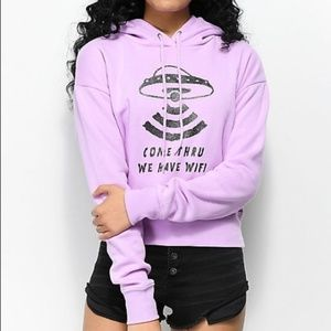 Zumiez Kawaii Pastel Purple UFO Alien WiFi Hoodie